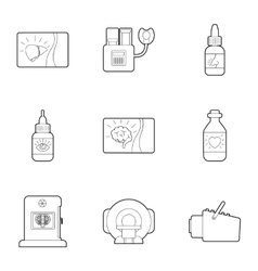 Medical examination icons set outline style vector