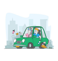 Men throwing litter through car window on vector