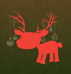 Merry christmas background with deer and christmas vector image