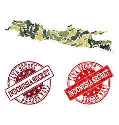 Military camouflage collage of map of java island vector