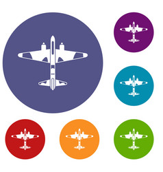 military fighter aircraft icons set vector image