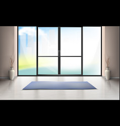 Mockup of entrance room with glass door vector