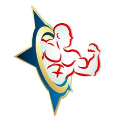 Muscles and star vector image