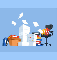 office work chair and paper documents folders and vector image