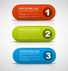 One two three - 3D progress buttons vector