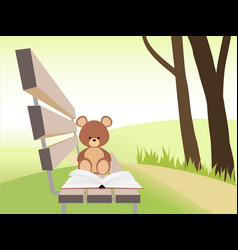 open book and bear toy on bench at sunset park vector image