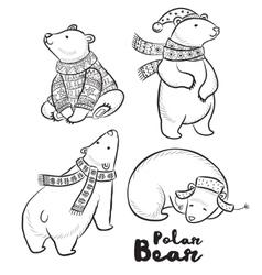 outline set with polar bears vector image