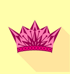 Pink crown icon flat style vector