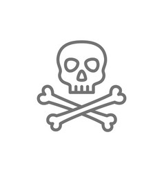pirate skull with crossbones line icon vector image