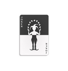 Playing card with joker in black and white design vector