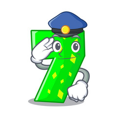 police character paper cut number seven letter vector image
