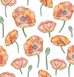Poppy flowers seamless pattern vector image