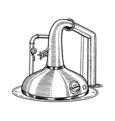 Pot swan necked copper stills distillery for vector