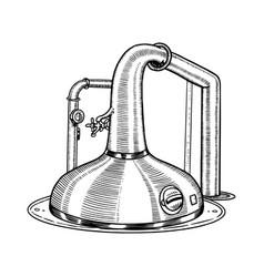 pot swan necked copper stills distillery vector image