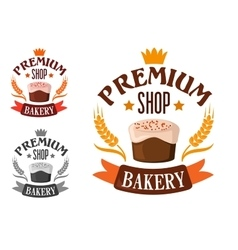 Premium bakery shop symbol with cake vector
