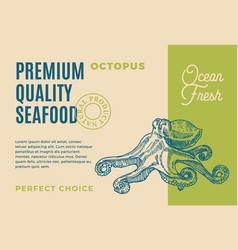 premium quality seafood abstract packaging vector image