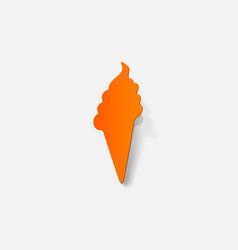 Realistic paper sticker ice cream vector