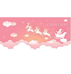 Santa claus riding sleigh over cloud background vector