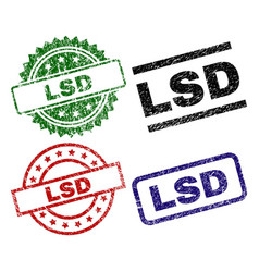 Scratched textured lsd stamp seals vector