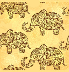 seamless pattern with indian ethnic elephant and vector image