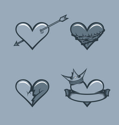 set hearts monochrome tattoo style vector image