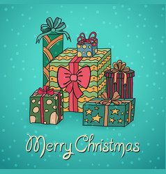 set of cartoon christmas gifts vector image