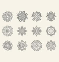 Set of ornate mandala symbols vector