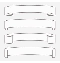 Set of white horizontal scrolls vector image