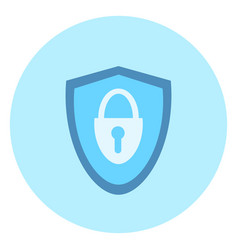 shield with lock icon on blue background vector image