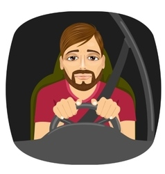 Sleepy male driver dozing off while driving vector