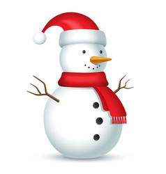 snowman with red scarf and hat with a bubo vector image