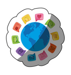 Sticker world map globe with dialogue social icons vector