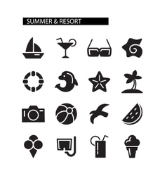 Summer and resort icons set vector
