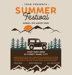 summer festival camp flyer a4 format mountain vector image