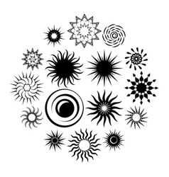 sun black icons set vector image