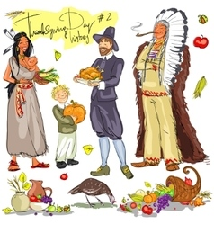 Thanksgiving day hand drawn collection Set 2 vector
