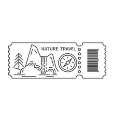 Ticket with barcode and waterfall vector