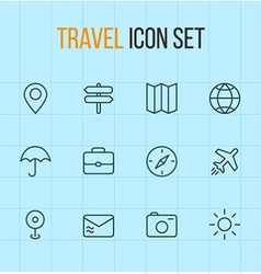 travel outline icon set vector image