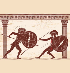 Two ancient greek warrior vector