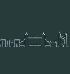 united kingdom simple line skyline and landmark vector image