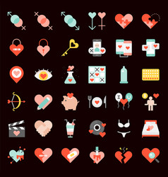 valentine dating love and romance flat icon vector image