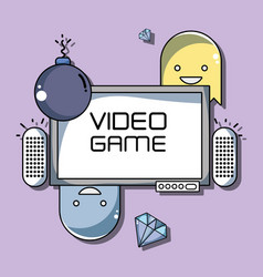 videogame technology console with diferents games vector image