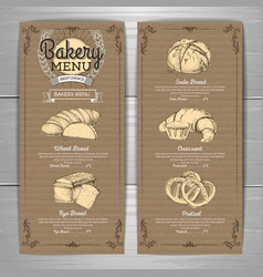 Vintage bakery menu design on cardboard vector