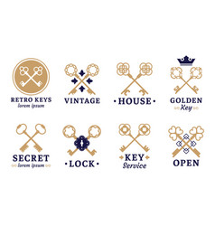 vintage key label old keys emblem retro lock and vector image