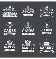 Vintage retro bakery labels on chalkboard vector image
