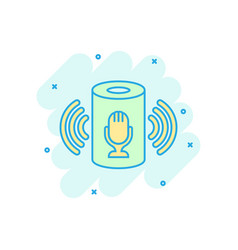 Voice assistant icon in comic style smart home vector
