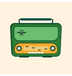 Green Retro Radio Flat Design vector image vector image
