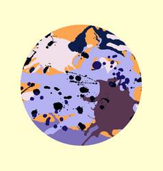 Lilac orange brown ink splashes round frame vector