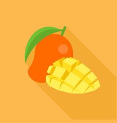 mango icon and piece of sliced mango vector image vector image