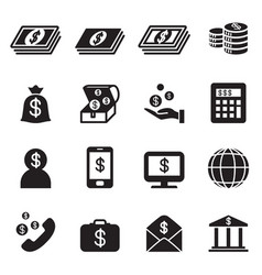 money bank investment icons set vector image